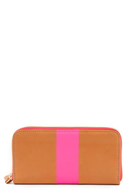 Clare V Leather Zip Around Wallet In Russet Skirting/ Pink Stripe