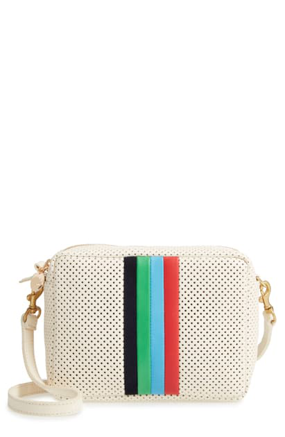 Clare V Midi Sac Perforated Leather Crossbody Bag In Cream Perf
