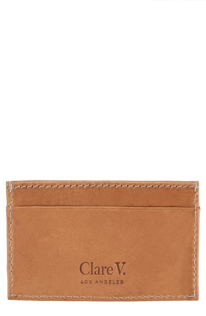 Clare V Mike's Leather Card Case In Cuoio Vachetta