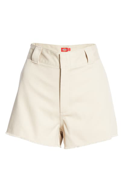 Dickies Frayed Cotton Blend Worker Shorts In Khaki
