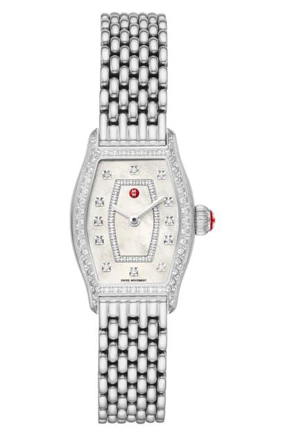 Michele Diamond Watch Head & Bracelet, 23mm In Silver/ Sunray/ Silver