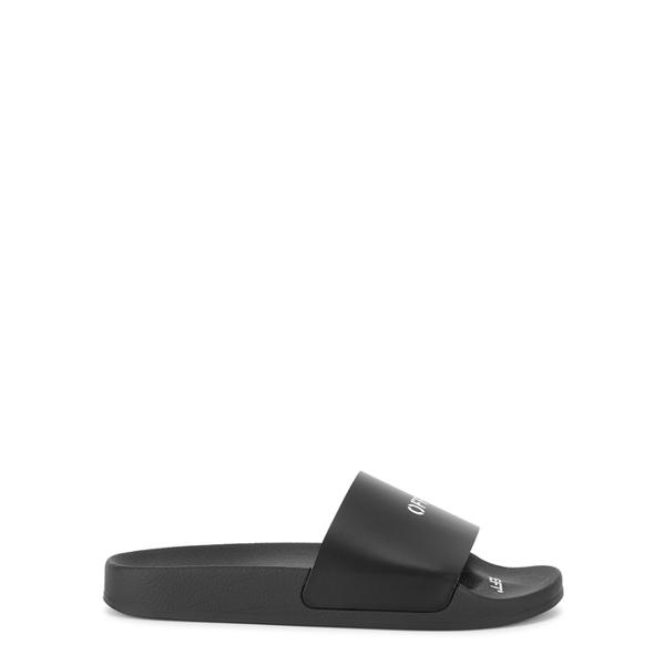 Off-white Pool Slider Flats In Black Rubber/plasic