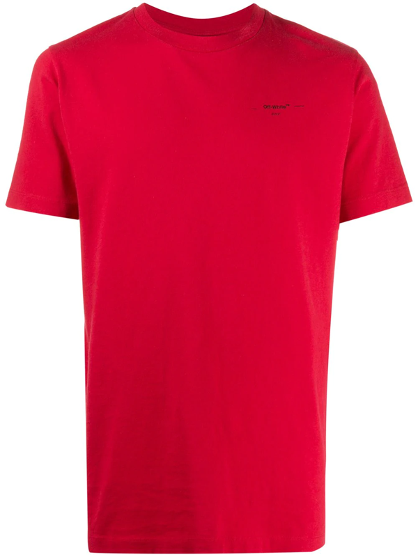 Off-white Arrow Logo T-shirt In Red Cotton