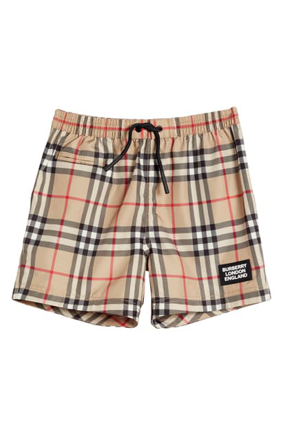 Burberry Kids' Kameron Check Swim Trunks In Archive Beige Ip Chk