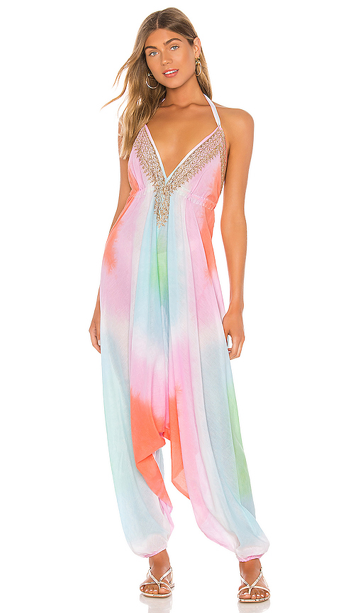 Juliet Dunn Diamond Tie Dye Jumpsuit In Multi