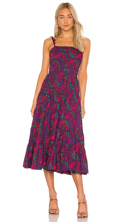 Ulla Johnson Ellyn Cotton Printed Midi Dress In Purple