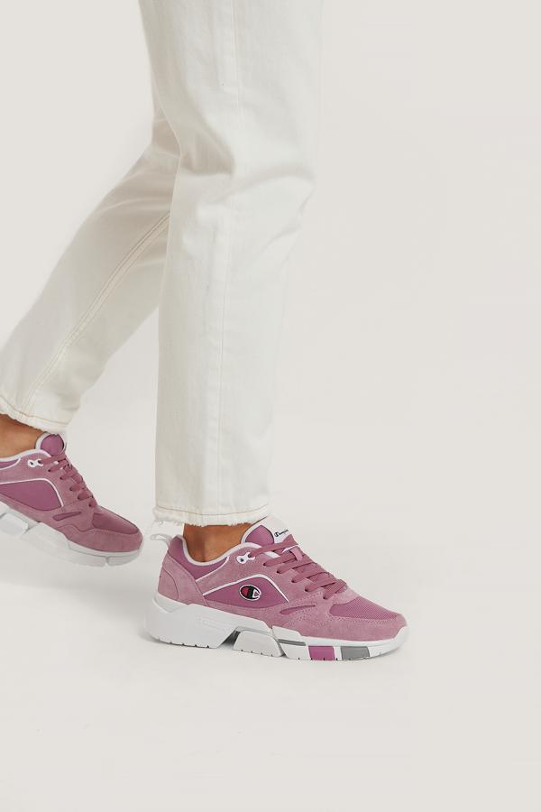 Champion Low Cut Lander Faux Suede Pink In Purple/white
