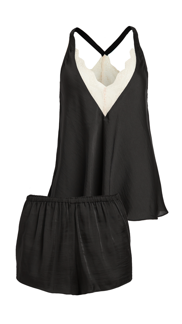 Flora Nikrooz Sestina Silky Island Cami Short Set With Lace In Black