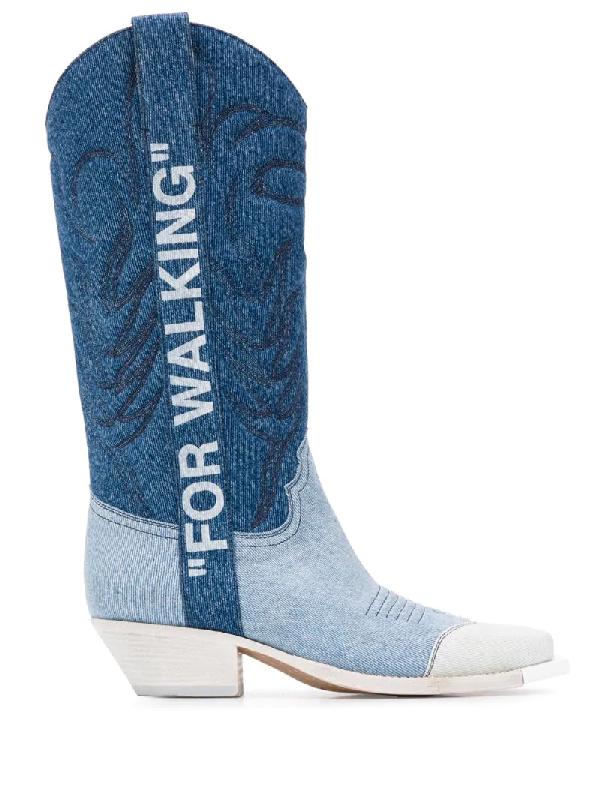 Off-white Bowboy Texan Boots In Blue Denim