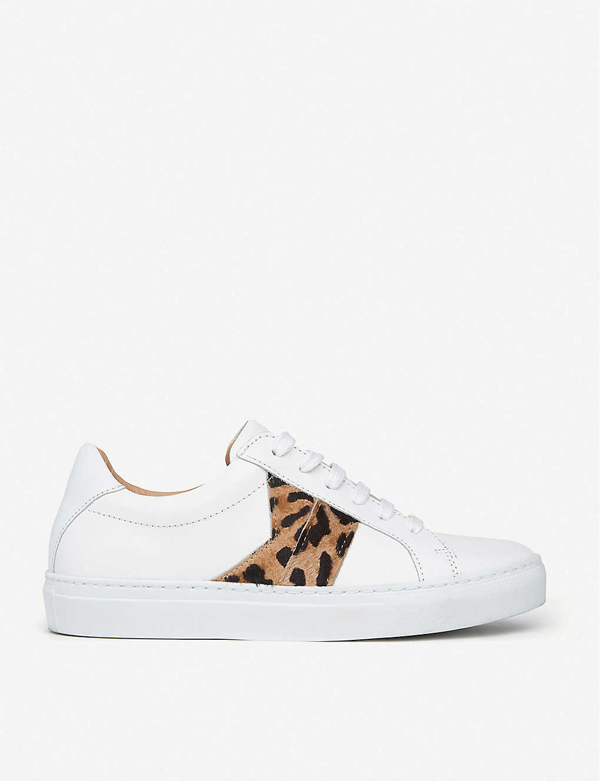 Lk Bennett Alivia Leopard-print Leather Trainers In Whi-natural
