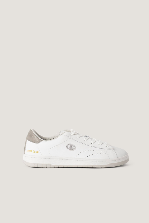Champion Low Cut Sneakers Court Club White In White/silver