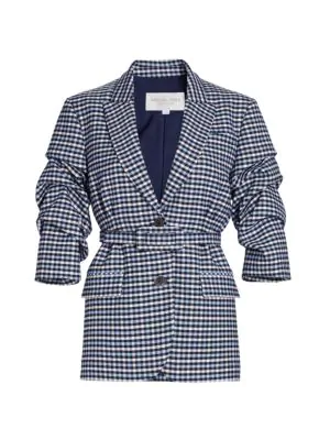 Michael Kors Women's Crushed-sleeve Fitted Plaid Blazer In Midnight