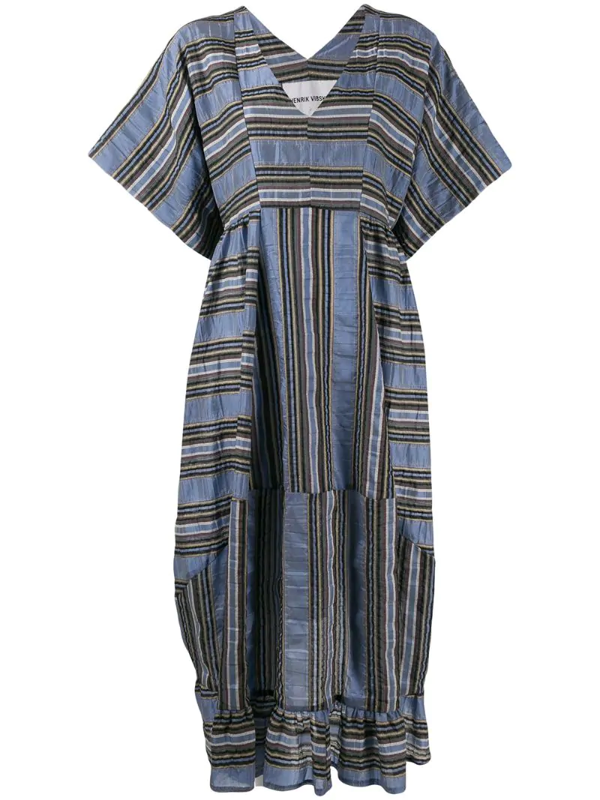 Henrik Vibskov Striped Shift Midi Dress In Blue