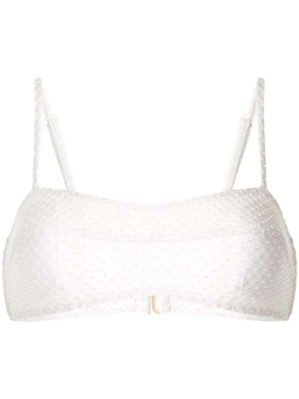 Peony White Contoured Crop Bikini Top