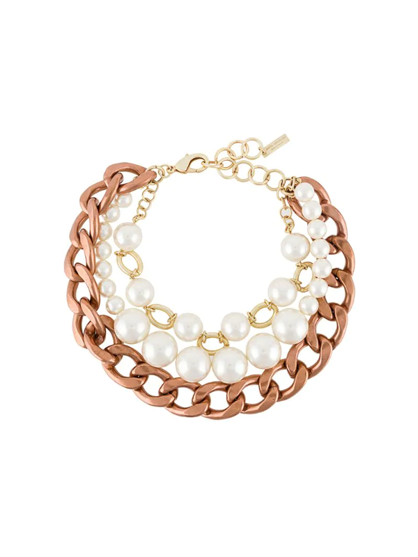 Junya Watanabe Pearl Chain Layered Necklace In White
