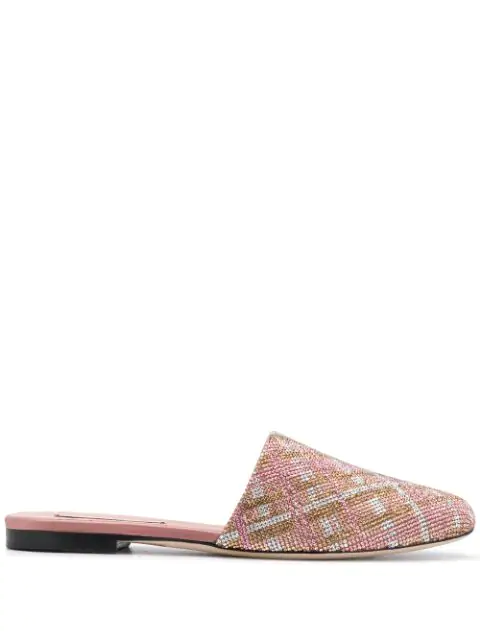 Marco De Vincenzo Check-crystal Slippers In Pink