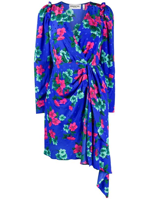 Essentiel Antwerp Antwerp Viesbeth Puff Sleeve Mini Dress In Blue Floral