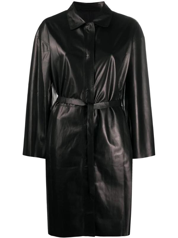 Salvatore Santoro Belted Press-stud Midi Coat In Black