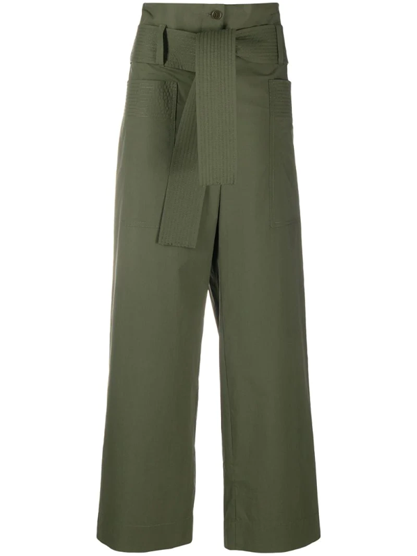P.a.r.o.s.h. Canyon Belted Trousers In Green