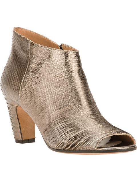 Maison Margiela Ruched Peep Toe Ankle Boot In Bronze