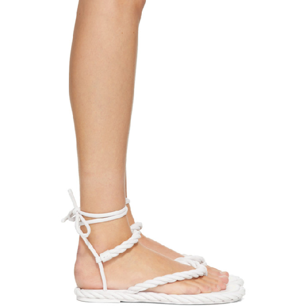 Valentino Garavani 10mm The Rope Leather Lace-up Sandals In 001 Bianco