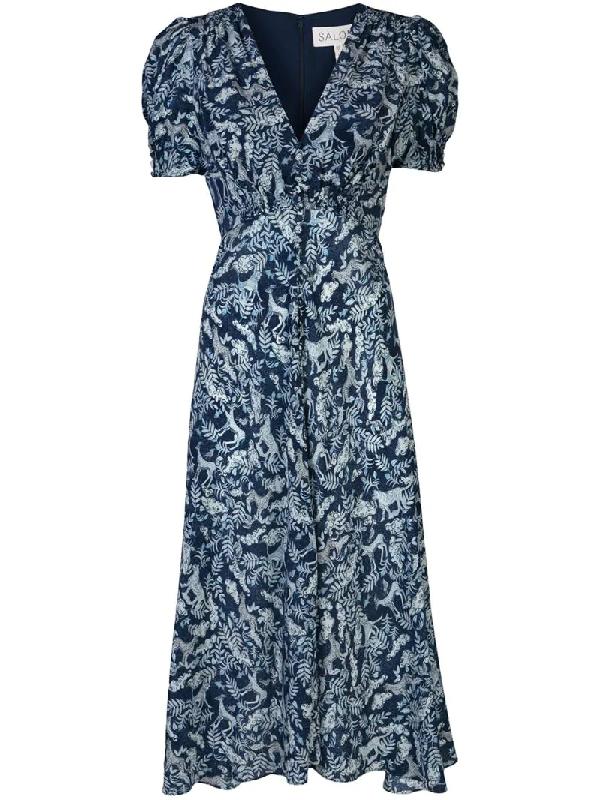 Saloni Lea Silk Crepe De Chine Midi Dress In Blue