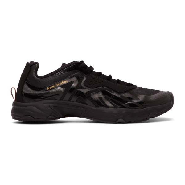 Acne Studios Faux Suede- And Rubber-trimmed Ripstop Sneakers In Black