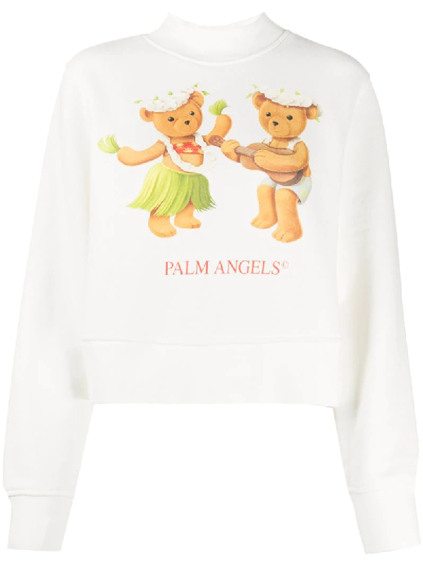 Palm Angels Dancing Bears Sweatshirt In Cream Color In White