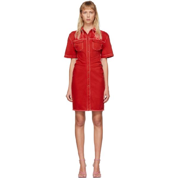 Off-white Knee-length Dress In Red Denim
