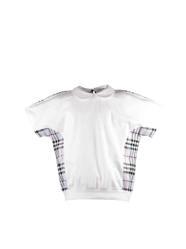 Burberry Kids' White Cotton T-shirt With Tartan Inserts