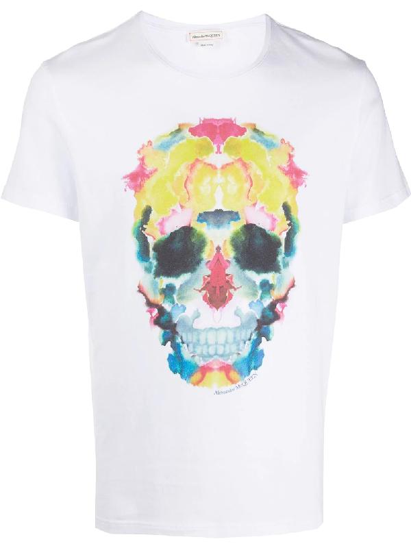 Alexander Mcqueen White Cotton Multicolor Printed T-shirt