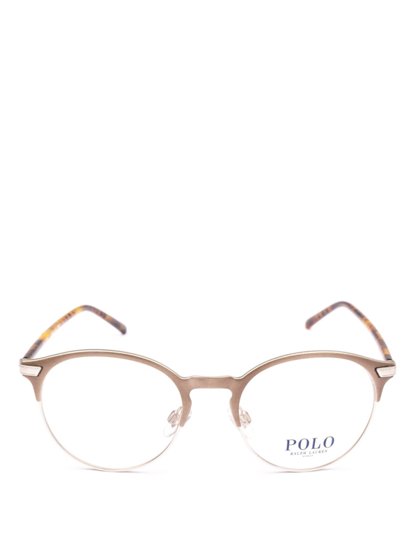 Polo Ralph Lauren Metal And Tortoise Acetate Half Frame Glasses In Metallic
