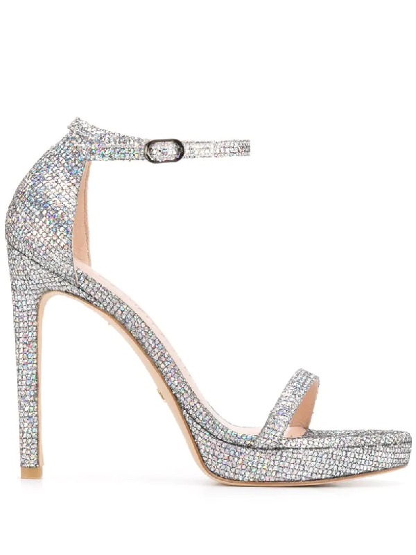 Stuart Weitzman Nudist Disco Sandals In Silver