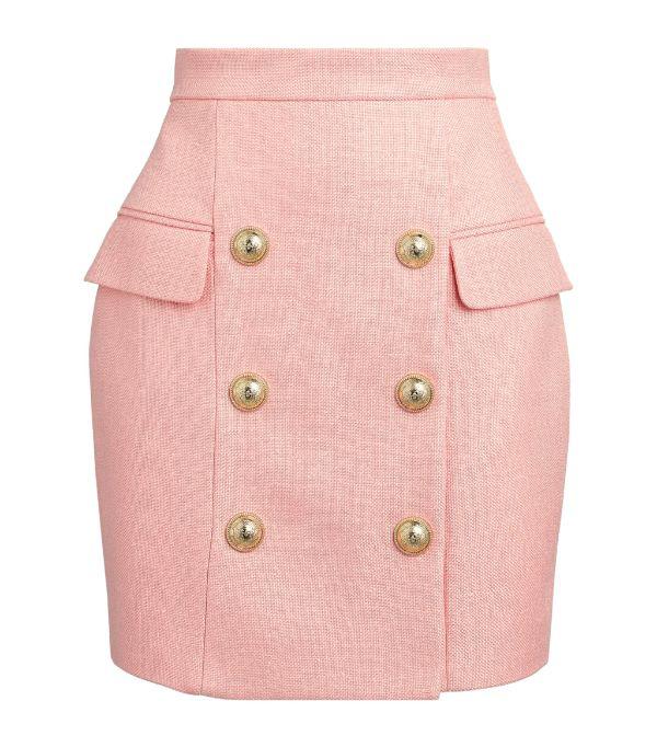 Balmain Pink Natte Cotton High Waist Mini Skirt In Light Pink