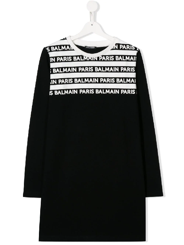 Balmain Kids' Logo Cotton-jersey Dress In Black