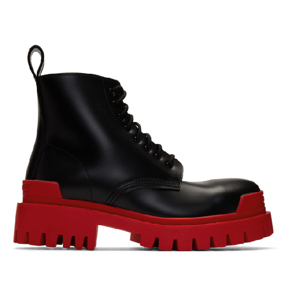 Balenciaga Strike Leather Platform Ankle Boots In 1066 Blkred