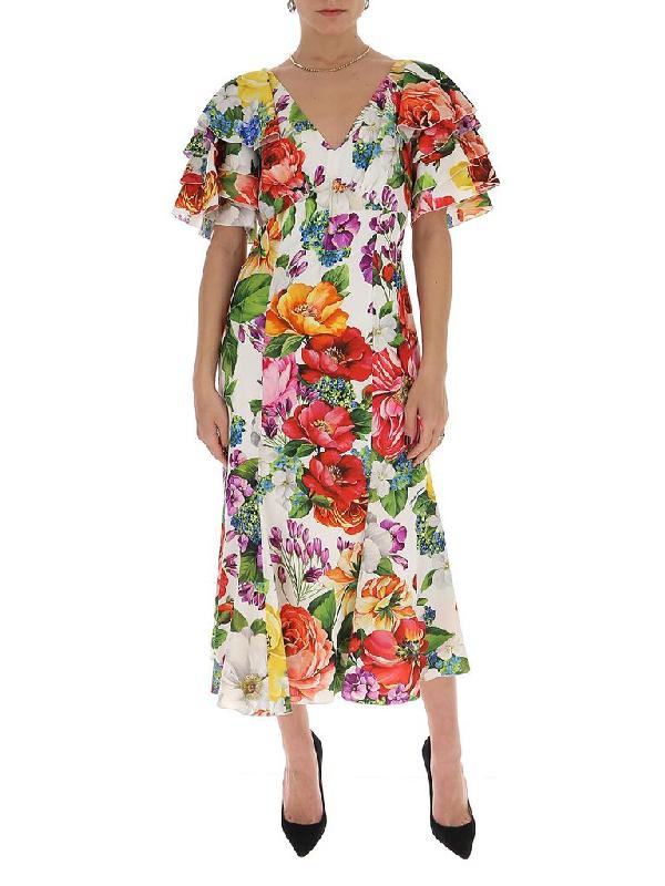Dolce & Gabbana Floral Midi Dress In Multi