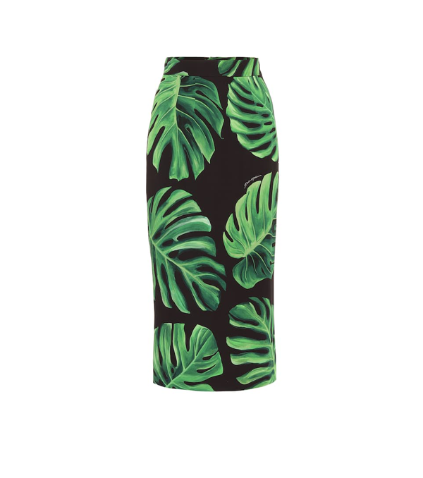 Dolce & Gabbana Longuette Tube Skirt In Charmeuse With Philodendron Print In Green