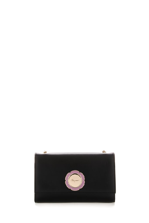Salvatore Ferragamo Flower Logo Shoulder Bag In Black