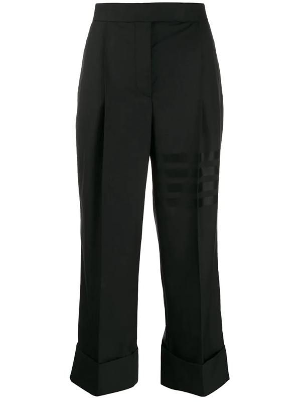 Thom Browne High-waisted Cropped Trousers In Black