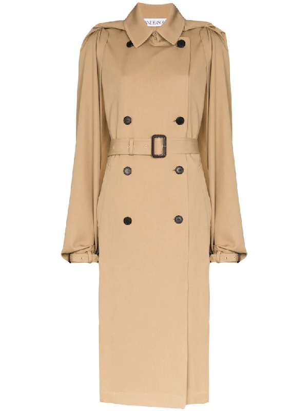 Jw Anderson Open Arms Belted Trench Coat In Brown
