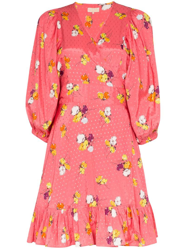 Bytimo Floral-print Wrap Dress In Pink