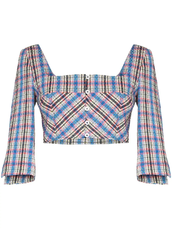 Rosie Assoulin Cropped Checked Cotton-blend Jacquard Top In Blue