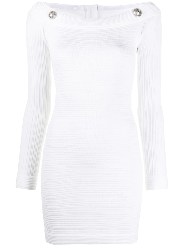 Balmain Ribbed Fitted Mini Dress In White