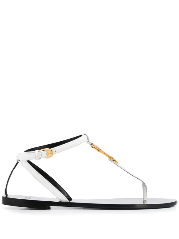 Versace Virtus Plaque Sandals In White