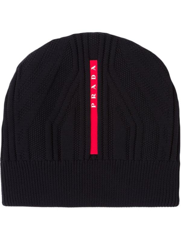 Prada Technical Knit Beanie In Black