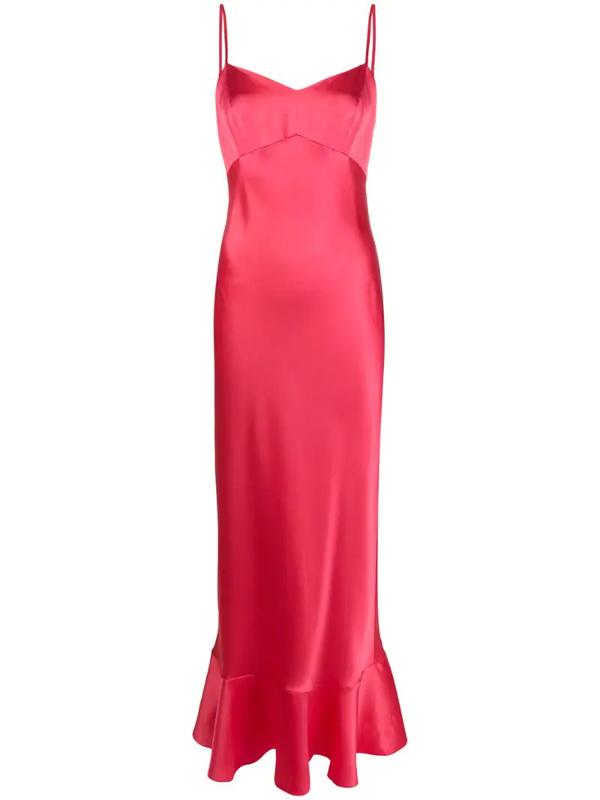 Saloni Strappy Slip Dress In Pink