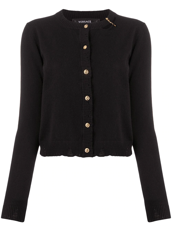 Versace Safety Pin Cashmere Cardigan In Black