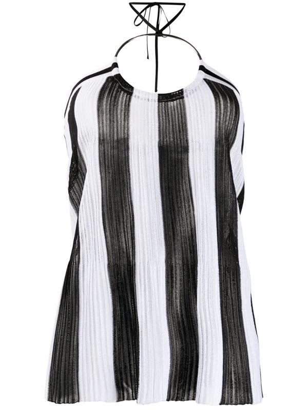 Balmain Knitted Striped Halter Neck Top In Black