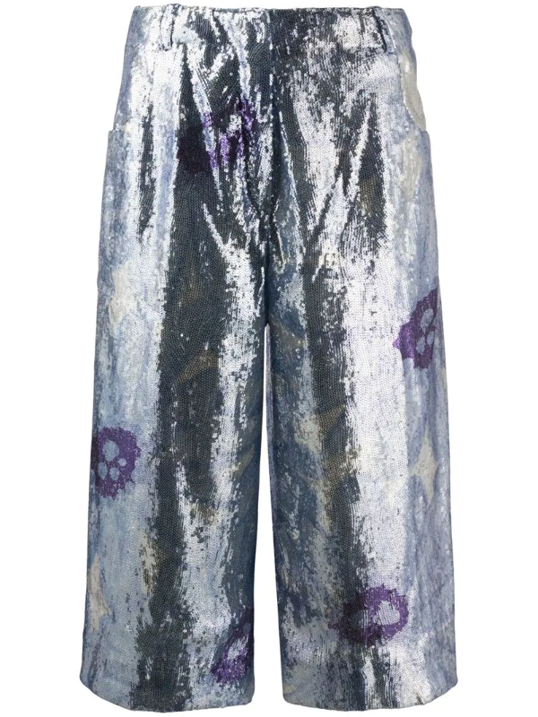 Jacquemus Le Short D'homme Sequinned Culottes In Blue